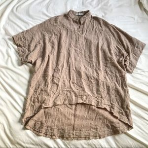 Oversized Taupe Tunic Style Short Sleeved Shirt